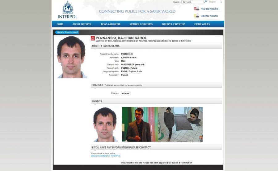 Kajetan Karol Poznański. LIST GOŃCZY wystawiony przez Interpol