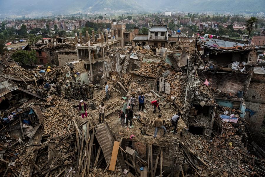 Zniszczenia po trzęsieniu ziemi w Nepalu