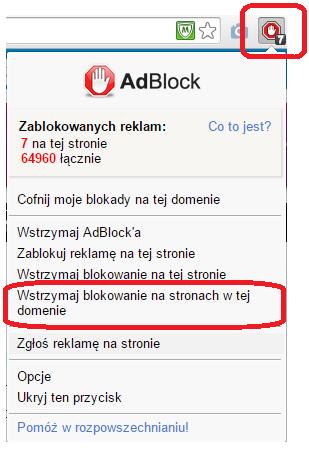Jak wyłączyć Adblocka na dziennik.pl - Chrome