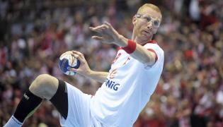 Karol Bielecki podczas meczu olimpijskiego turnieju kwalifikacyjnego piłkarzy ręcznych z Chile