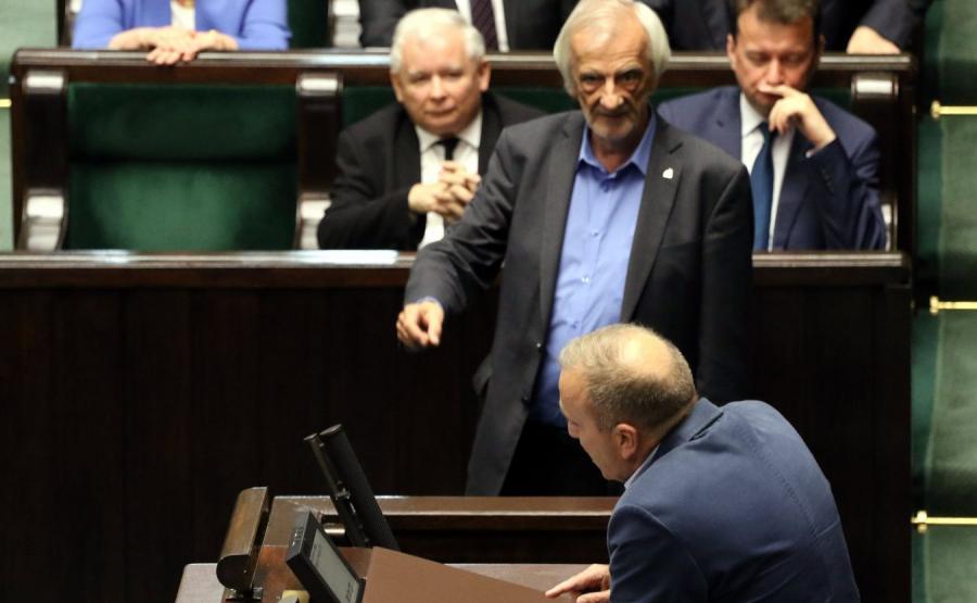 Grzegorz Schetyna i Jarosław Kaczyński w Sejmie
