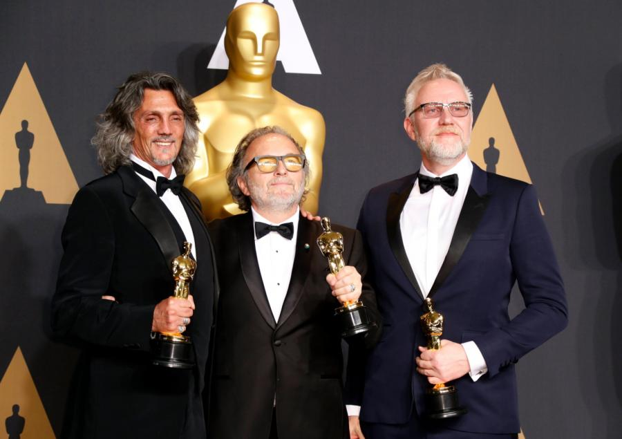 Giorgio Gregorini, Alessandro Bertolazzi i Christopher Nelson, zdobywcy Oscara za charakteryzację do filmu Legion Samobójców